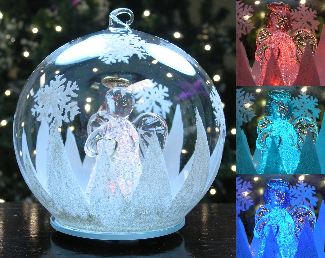 Lighted Ornament - Angel with Heart, Glass, LED Color-changing Lighted Christmas