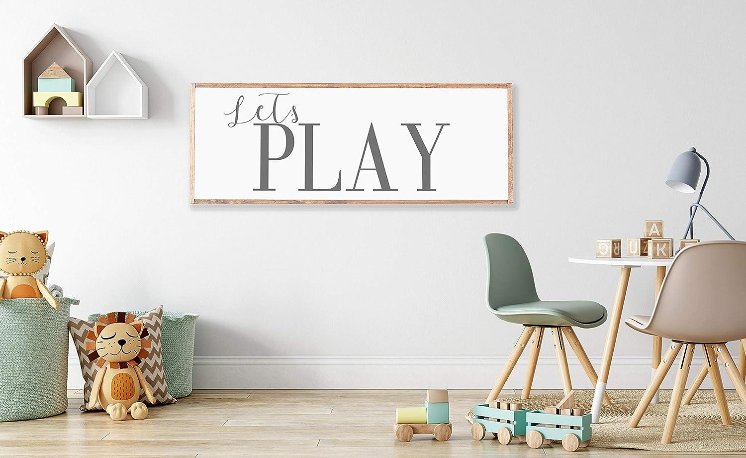 Amazon Com Promini Lets Play Wood Framed Sign Playroom Wall Art Nursery Decor Playroom Decor Farmhouse Sign Playroom Wall Decor For Playroom Nursery 12x22 Inch Wooden Sign Wall Art Home Decor Home