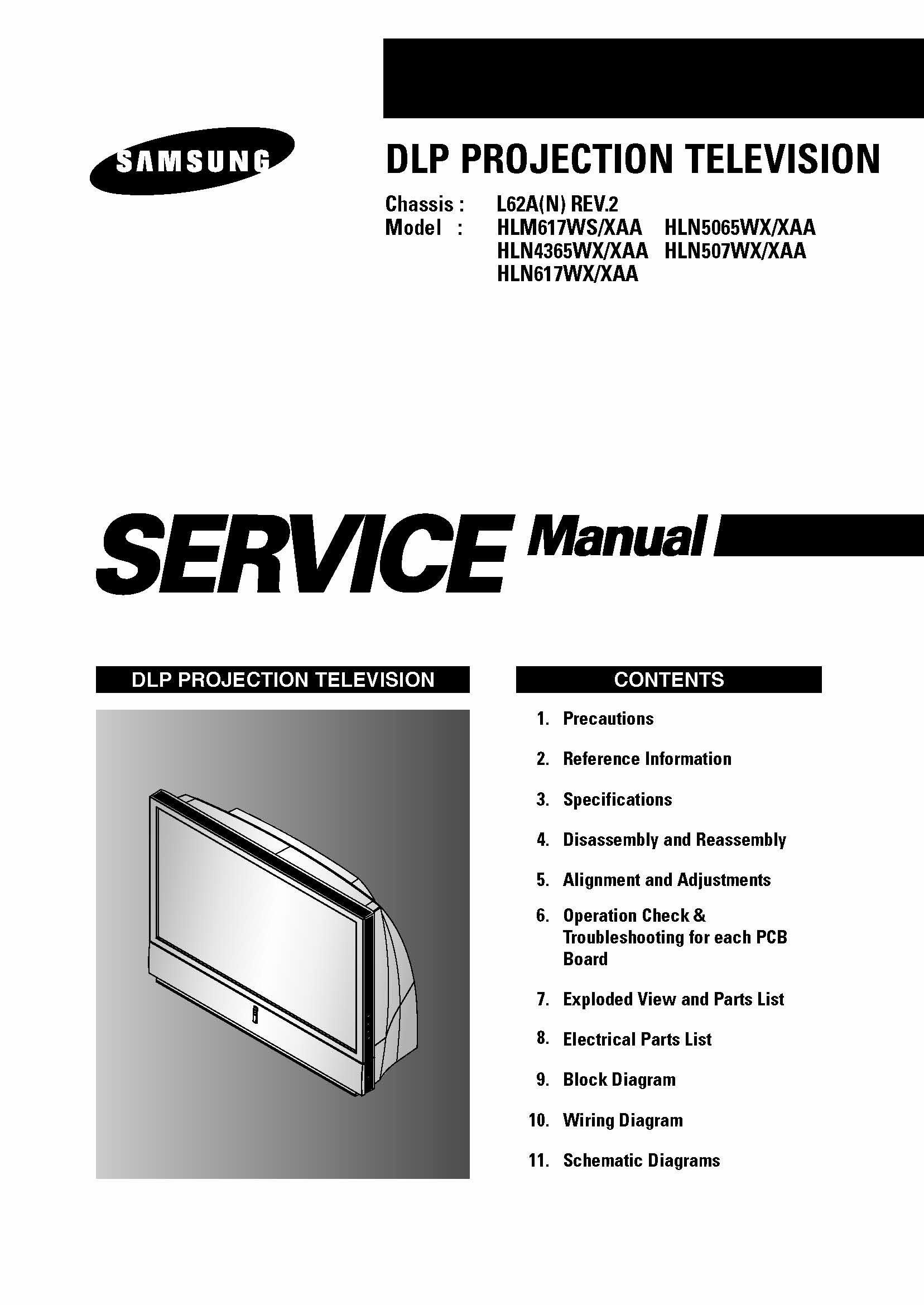 samsung hlm617ws xaa hln617wx xaa dlp tv service manual