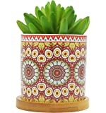 Cute Mandalas Style Ceramic Succulent Cactus Flower Plant Pots with Bamboo Tray for Home Garden Office Decoration (Plant Not Included) (Red)