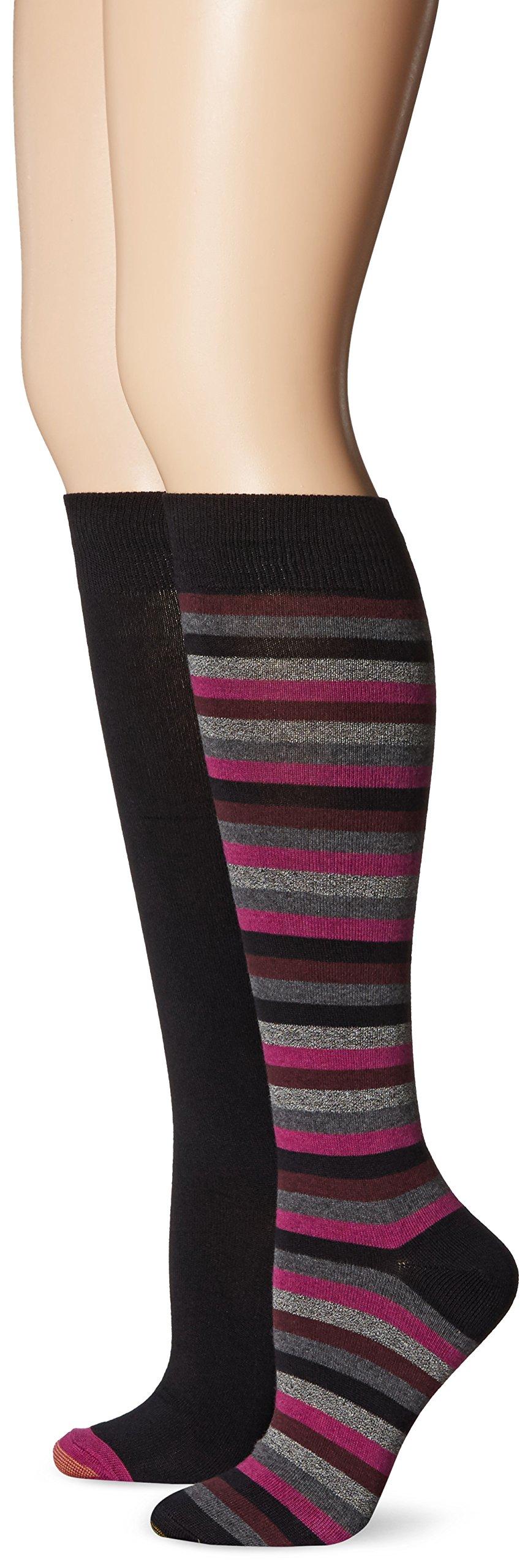 Gold Toe Women's Stripe Extended Size Knee High Sock, Black Stripes/Black, 10-12 (Pack of 2)