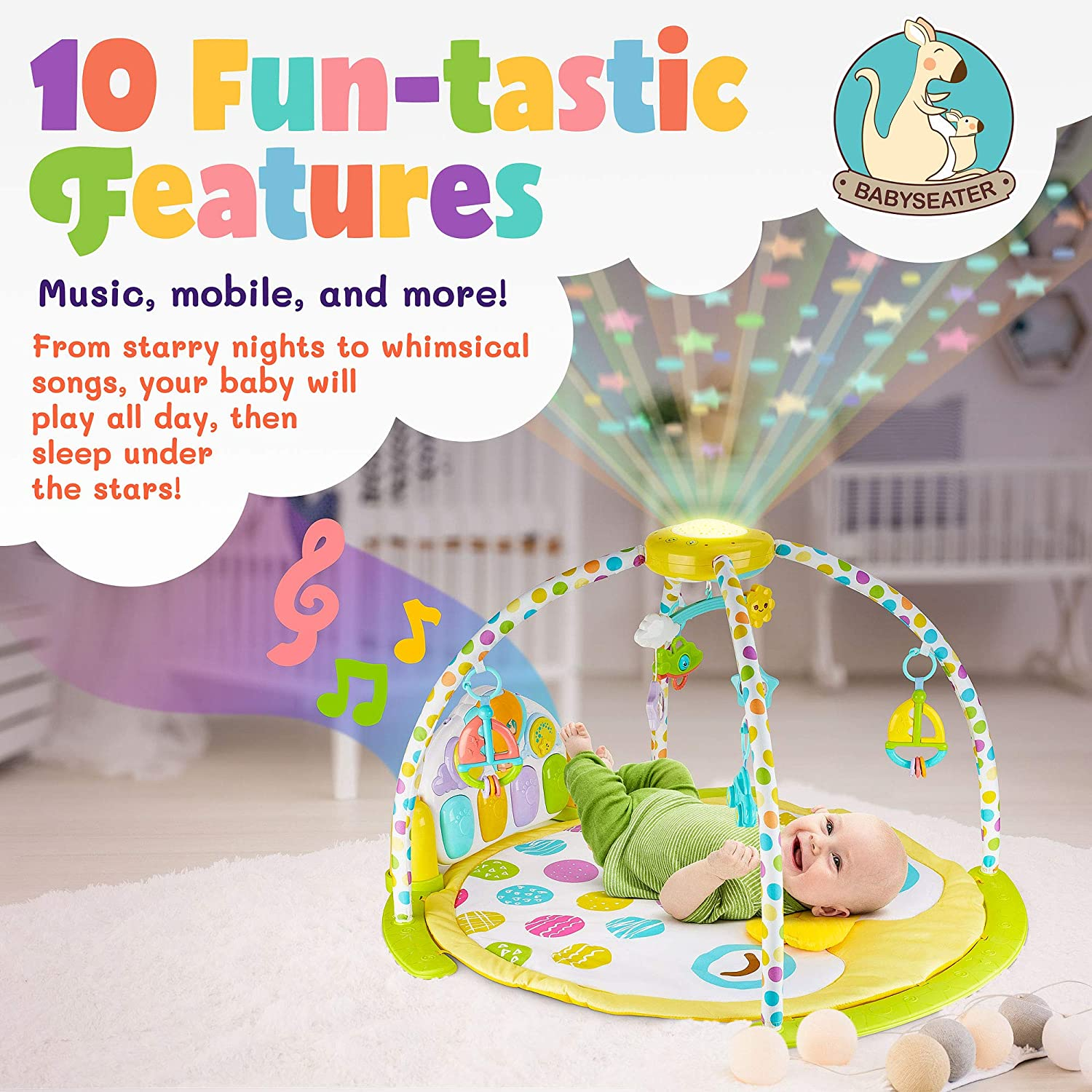 NEW 2019 Baby Gym Kick and Play Piano Activity 0m Large Play Learn Infant Toys Jungle Gym Baby Kick Piano Mat with Rotating Star Mobile Star Projector Machine Washable Newborn Toddler Gym