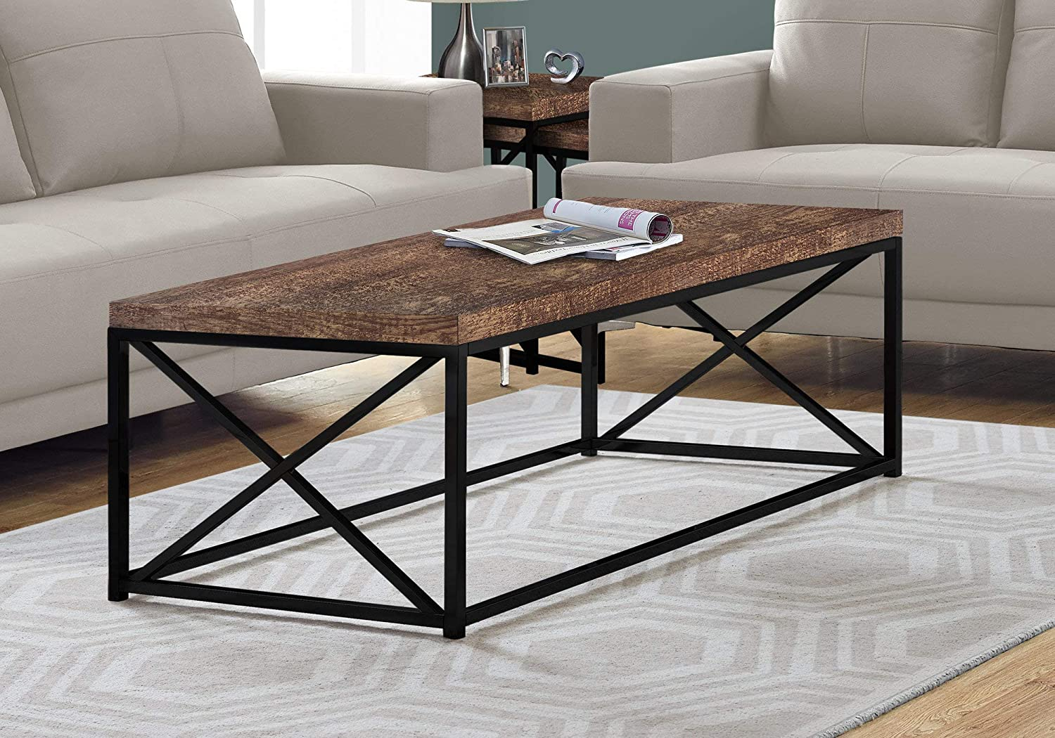 Criss Cross Coffee Table.Monarch Specialties Coffee Table Modern Cocktail Table With Metal Base 44 L Brown