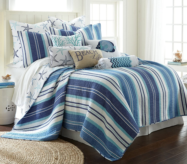 Levtex Camps Bay King Quilt Set, Blue, Cotton