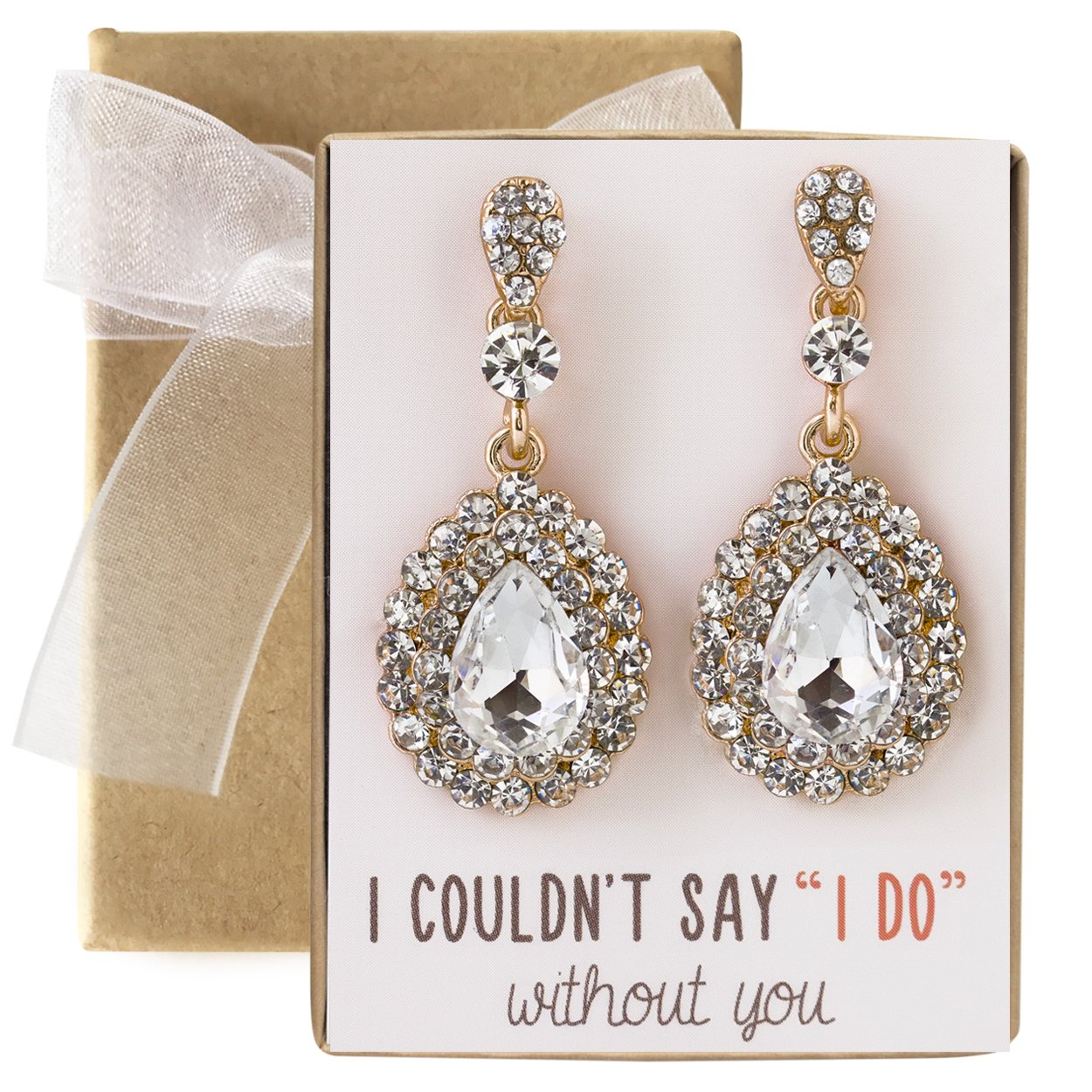 AMY O. Wedding Bridesmaids Gift, Crystal Glass Drop Earrings in Gold, Rose Gold or Silver by AMY O.