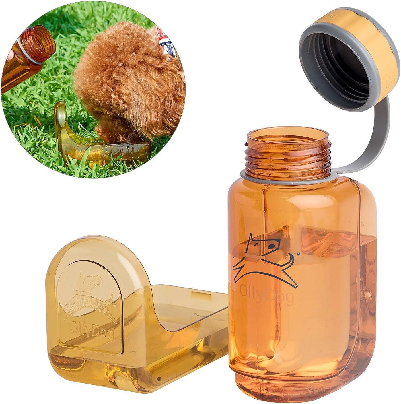"""OllyBottle Portable Travel Walking Hiking """"No Touch"""" Water Bottle for Dog Pets by OllyDog"""