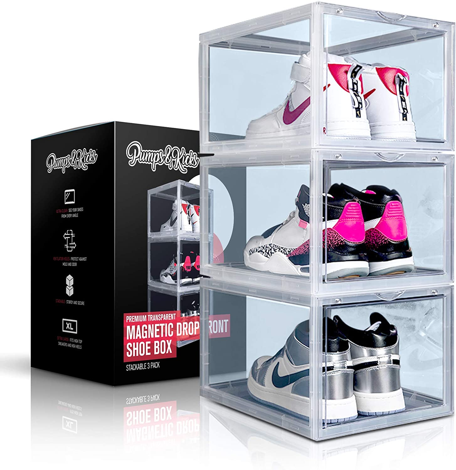 Stackable Sneaker Display Cases Shoe Box Organize Extra Large