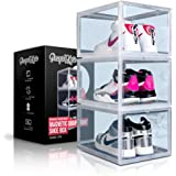 PUMPS&KICKS Shoe Storage Organizer Boxes   3 Pack   Clear Plastic   Stackable for Closet   Drop Front Opening   Extra Large f