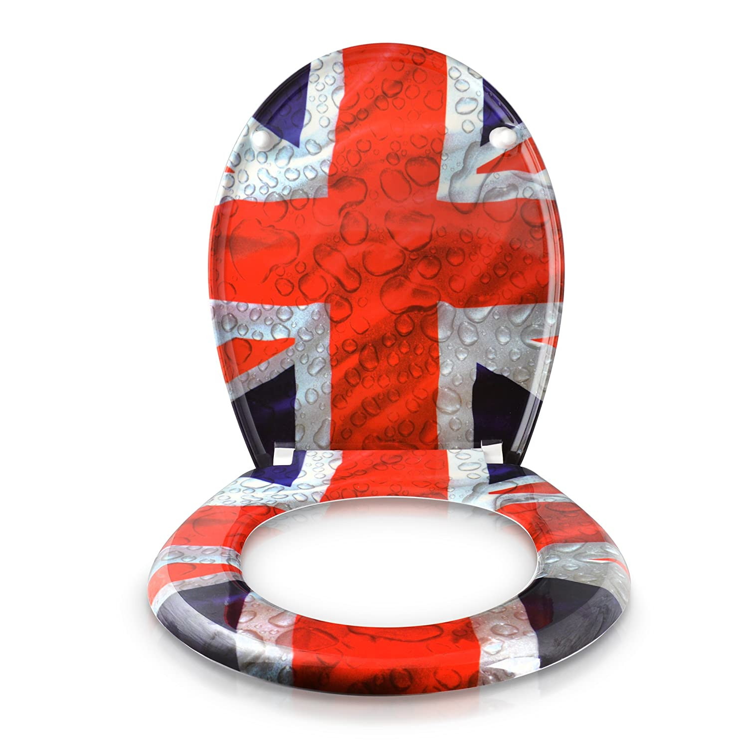 union jack toilet seat. WC Seat with Slow Close Mechanism  Union Jack Design Duroplast Toilet Motif and Mounting Kit Grinscard Amazon co uk Kitchen Home