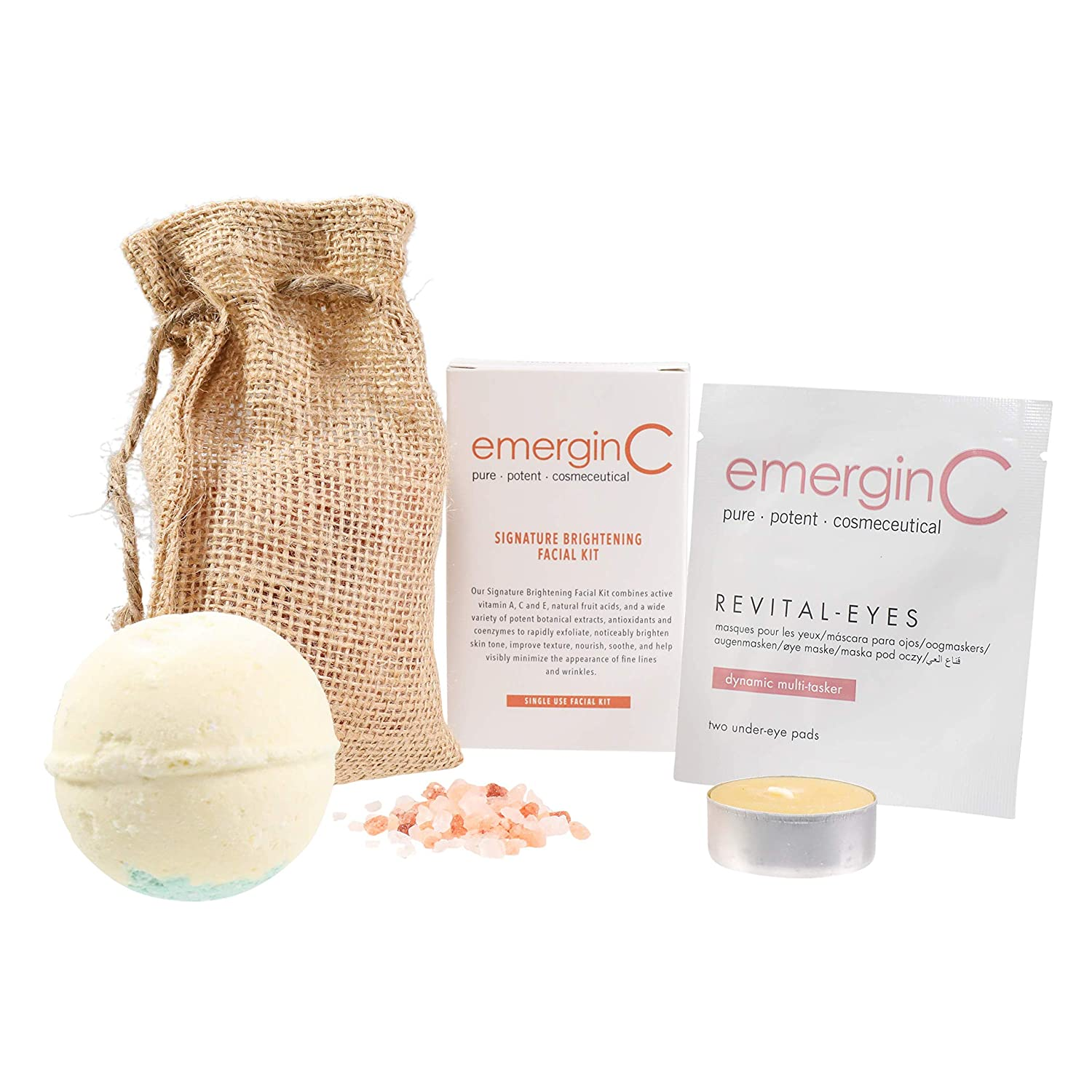 emerginC Scientific At-Home Luxury Spa Kit - Signature - 5-Piece Set - Brightening Facial Kit, Revital-Eyes Mask Sample, Essential Oil Bath Bomb, Himalayan Bath Salt Pack, Beeswax Purifying Candle