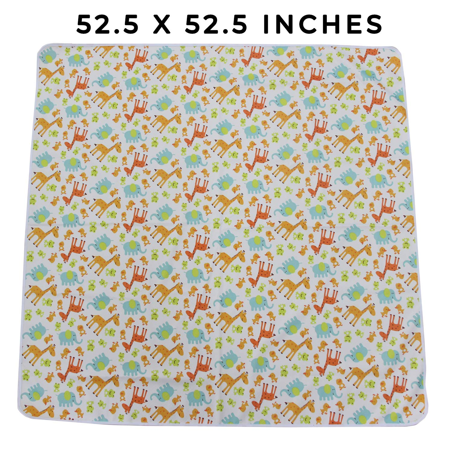 Waterproof Picnic Splat Mat for Under High Chair Non Toxic Machine Washable Great for Play Time 52.5 Extra Large Animals Arts and Crafts Anti Slip