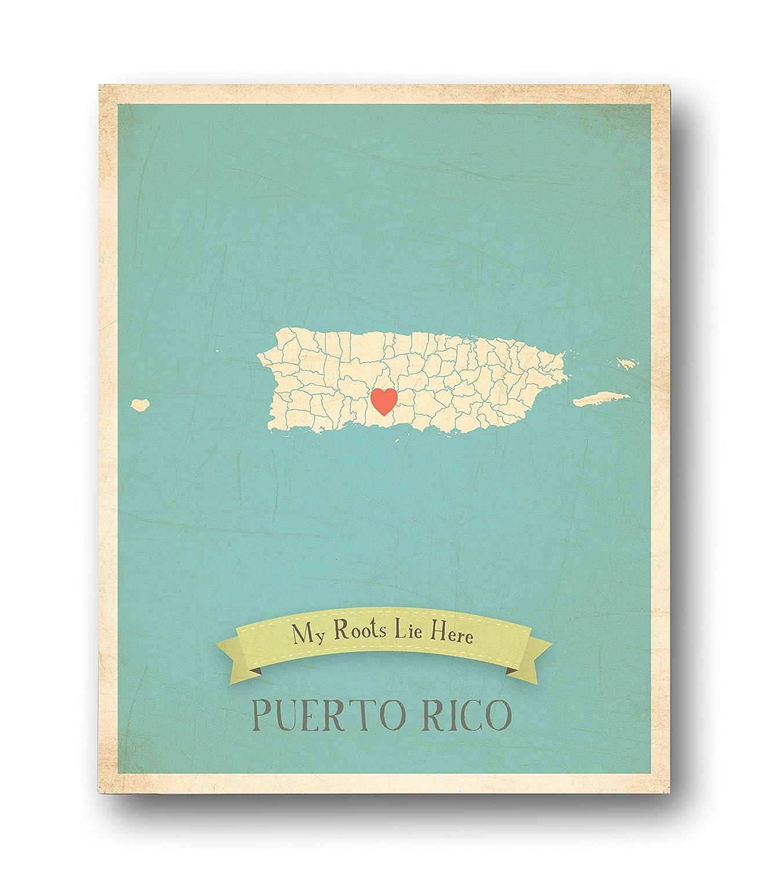 Mapa de pared, mi raíces puerto Rico personalizado pared mapa 11 x ...