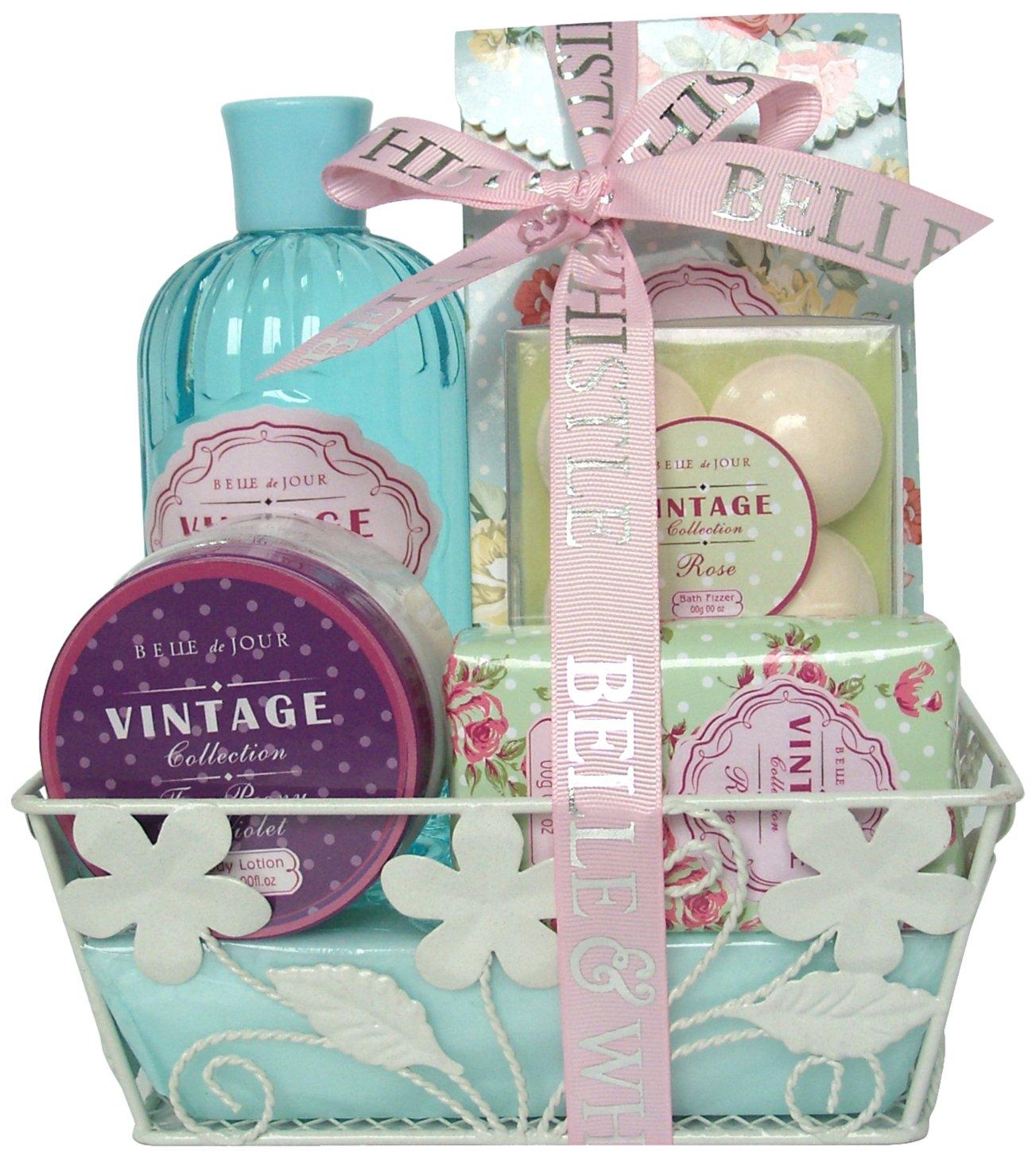 Gloss! Vintage Rose Bath Gift Set - 10-Piece Gift Box - Bath Gift ...