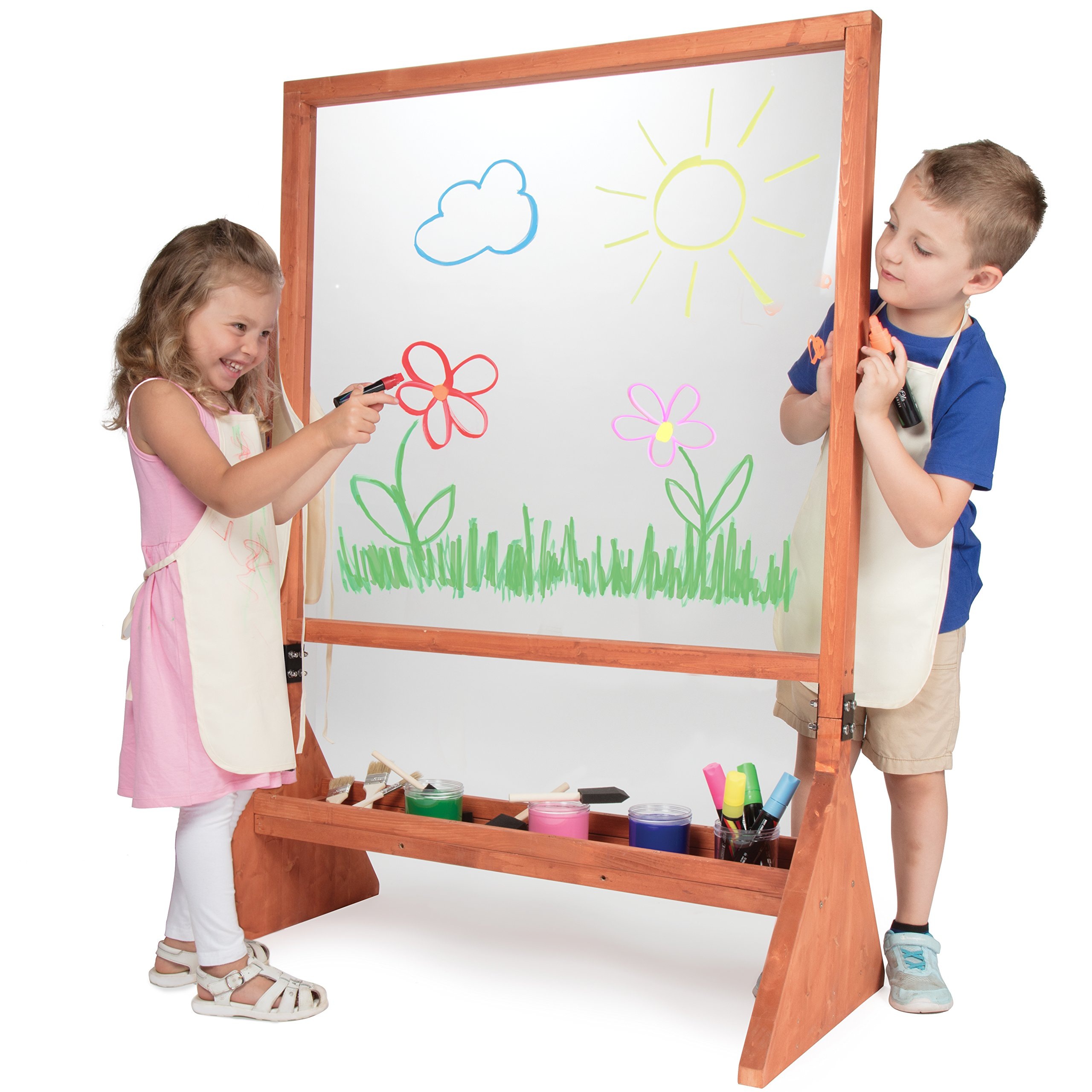 Double Sided Indoor/Outdoor Plexiglass Art Easel (21 x 36 x 51 in) - Easy to Clean, Kids Can Draw or Paint On Both Sides