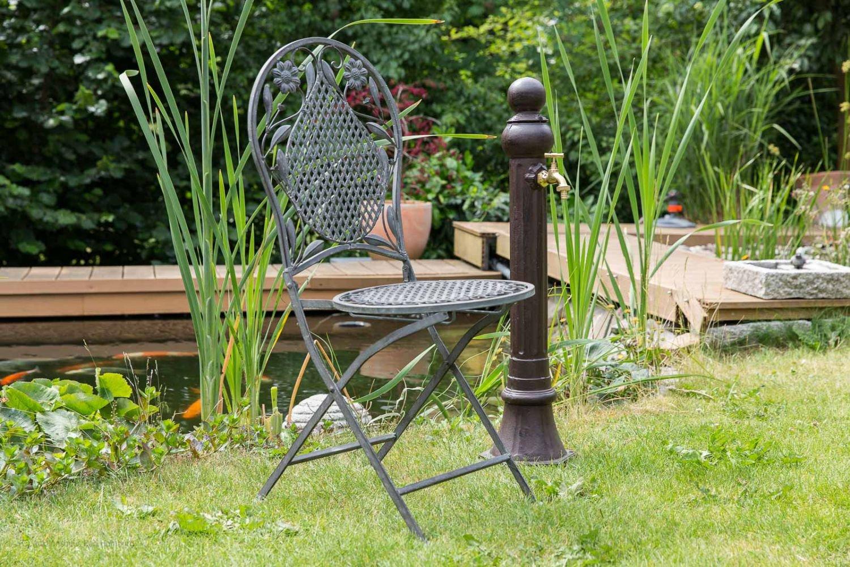 Standbrunnen Garten Brunnen Aluminium Antik-Stil Braun