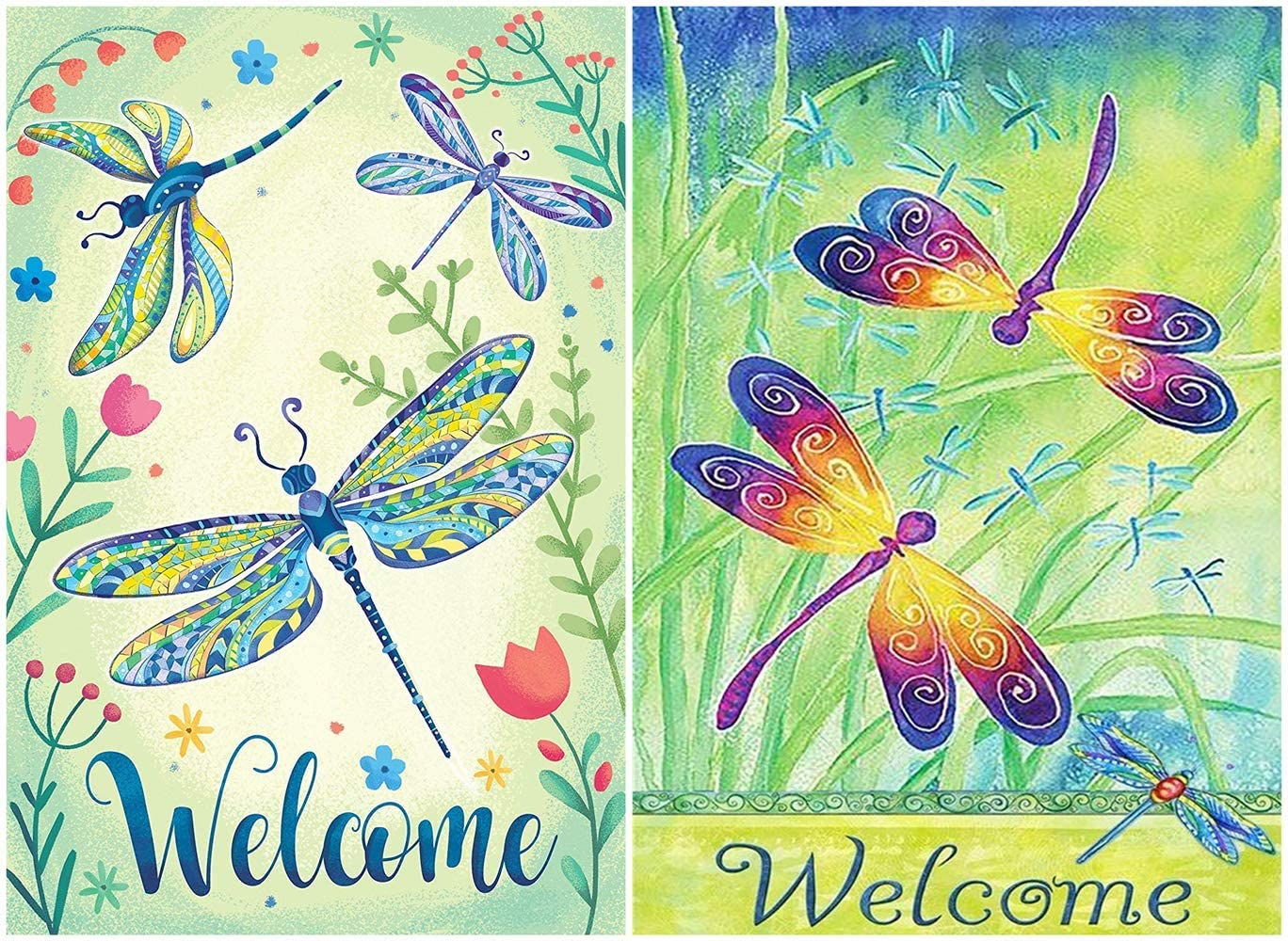 Welcome Spring Summer Dragonfly Butterfly Flowers Double Sided Garden Yard Flag, Hello Spring Summer Floral Flying Dragonfly Grass Decorative Garden Flag Banner for Outdoor Home Decor Party 12.5 x 18