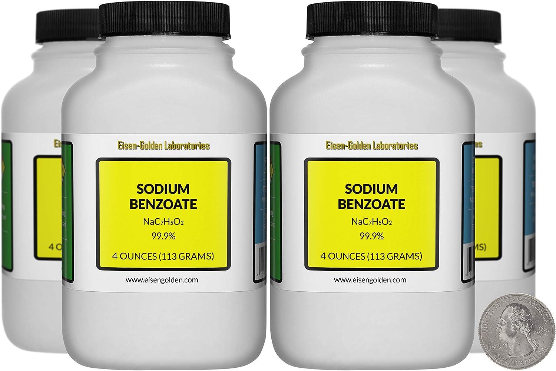 Sodium Benzoate [NaC7H5O2] 99.9% USP Food Grade Micropellets 1 Lb in 4 Bottles USA