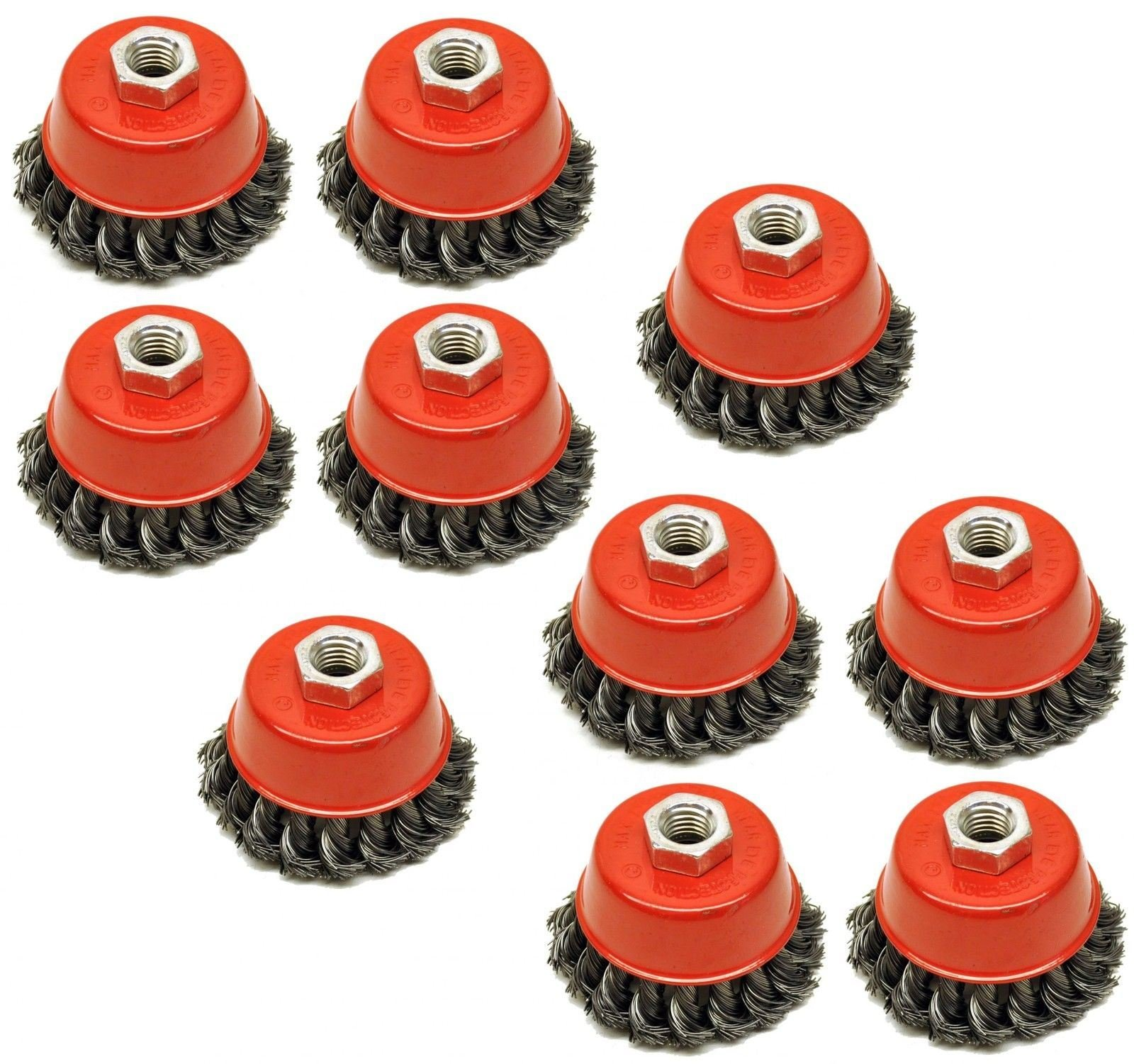 Twist Knot Wire Wheel Cup Brush 3'' for 4-1/2'' Angle Grinder 10 Pack AU026