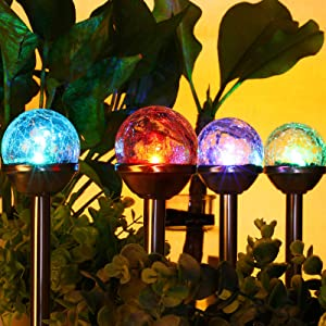 Mudder 4 Pieces Cracked Glass Ball Dual LED Garden Decorative Lights, Yard Color Changing and White for Path, Patio, Yard Landscape, Pathway Lights