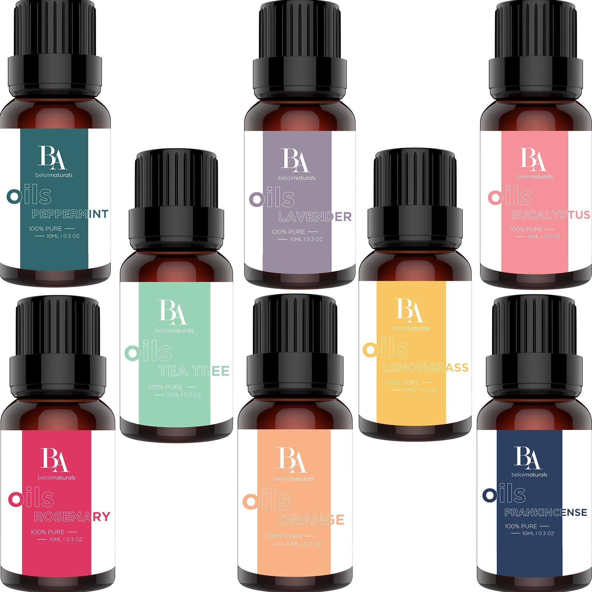 Bel Air Naturals Aromatherapy Essential Oils Set - 100% Pure Therapeutic Grade - Peppermint/Tea Tree/Rosemary/Orange/Lemongrass/Lavender/Eucalyptus/Frankincense - Best For Oil Diffuser, Massage, Focus