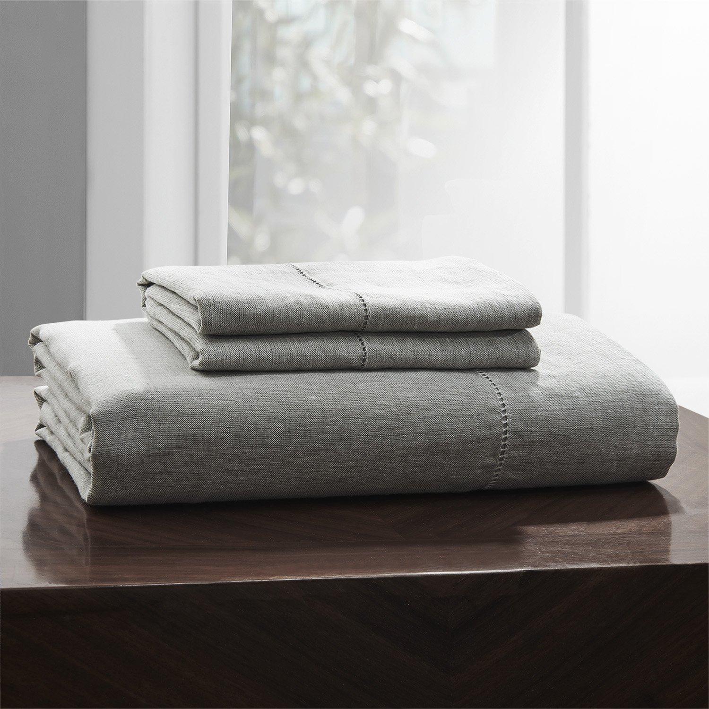 Simple&Opulence 100% Linen Sheet Set Queen Hand Drawing Grey (1 Flat Sheet,1 Fitted Sheet,2 Pillowcases)