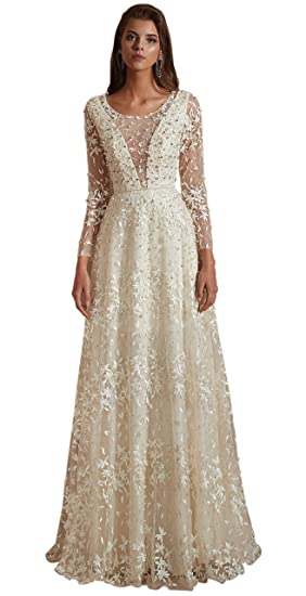 af7d9eaa32ce Maricopyjam Women's Sexy Heavy Beaded Long Prom Dresses Long Sleeve Evening  Gowns White