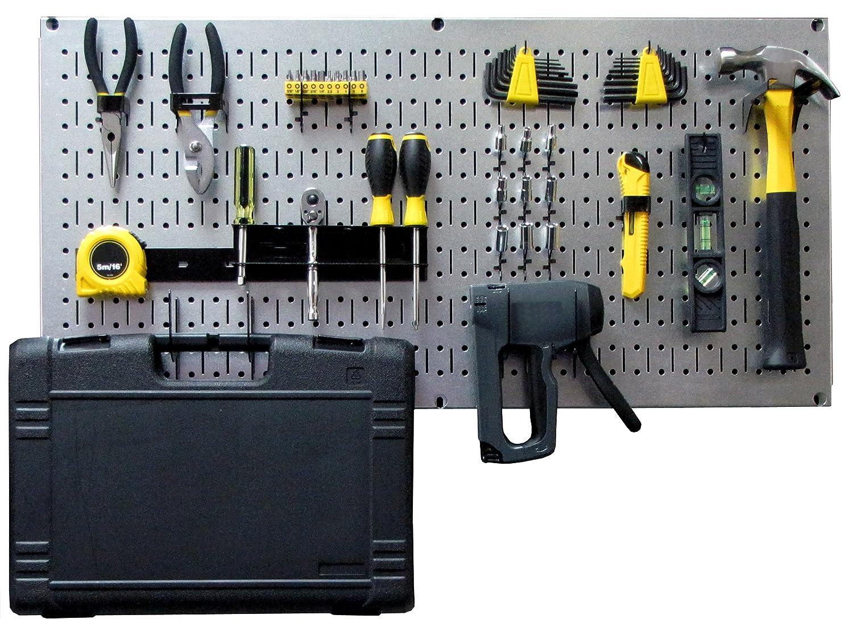 Wall Control Modular Pegboard Tool Organizer System Wall Mounted Metal Peg Board Tool Storage Unit for Pegboard Tiling Metallic Pegboard