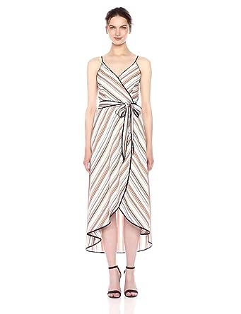 Moon River Women's Wrap Maxi Dress with Waist Tie, Orange/Multi, X-Small