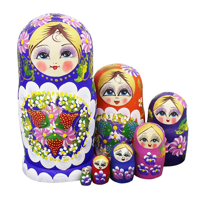 Winterworm Set di 7 Bacche e Fiori cartamodello di legno Nesting Dolls Matryoshka russo Bambola perfetto regalo per festa della mamma