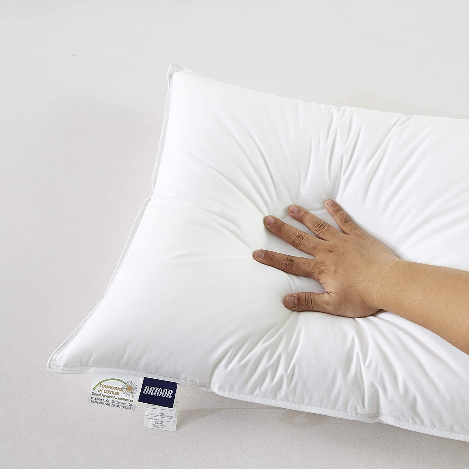 drtoor Sleeping Pillow Polyester Filling Soft Comfortable Anti-Dust Wrinkle Resistance Bedding Pillow 2 Packs White /…