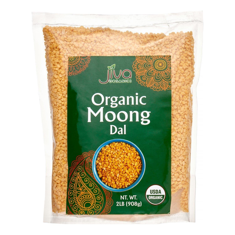 Jiva Organic Yellow Moong Dal 2 Pound - Non-GMO - Great for Kitchari - Split Mung Beans Washed