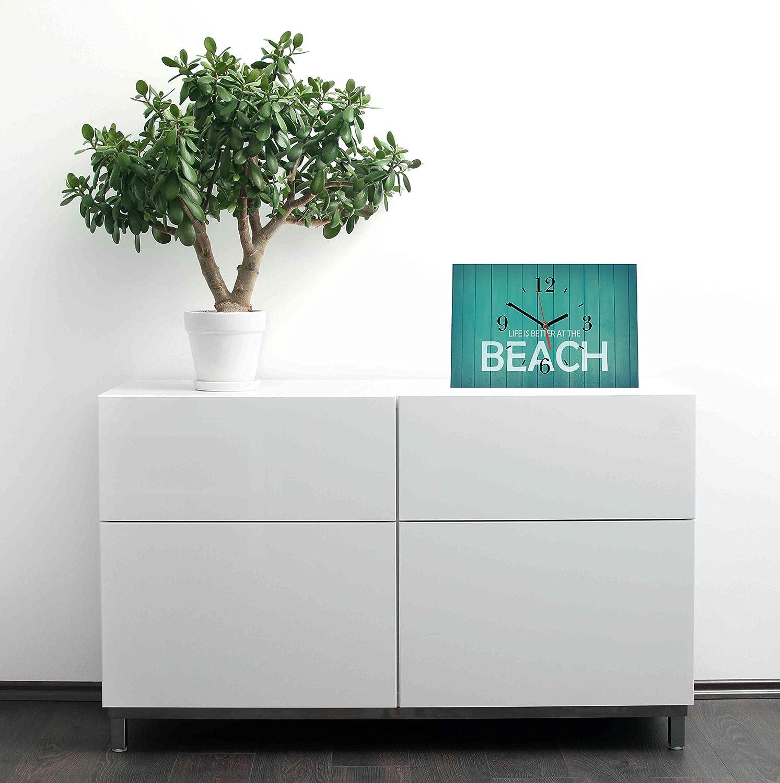 LAUTLOSE Designer Tischuhr Life is better at the Beach blau holz vintage Standuhr modern Dekoschild Bild 30 x 20cm