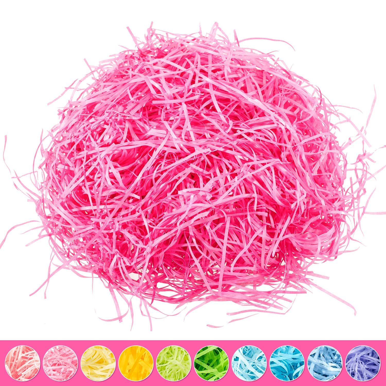 Whaline Easter Basket Grass Craft Shredded Tissue Raffia Gift Filler Paper Shreds for Baskets Egg Stuffers for Spring Party Supplies Accessories Decorations (Yellow)