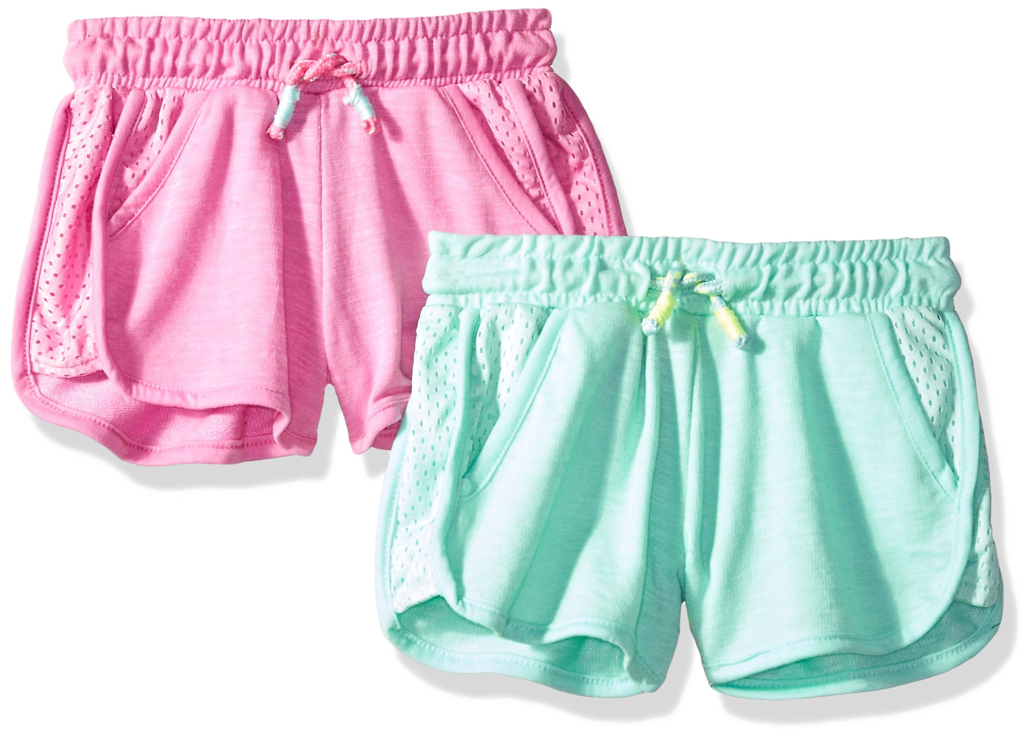 Limited Too Little Girls' 2 Pack Short, Mesh Trim Light Mint with Magenta Multi, 4