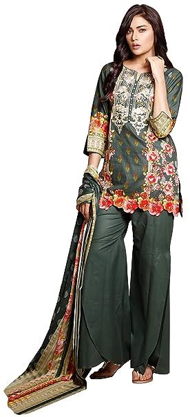 a45db8a7e6 Image Unavailable. Image not available for. Colour: Surkhab Impressions  Women's Pakistani Pure Lawn Cotton Embroidered Unstitched Salwar Suit Dress  Material