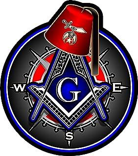 Masonic Free Mason Firefighter Tools Emergency X-Large Reflective Window Decal