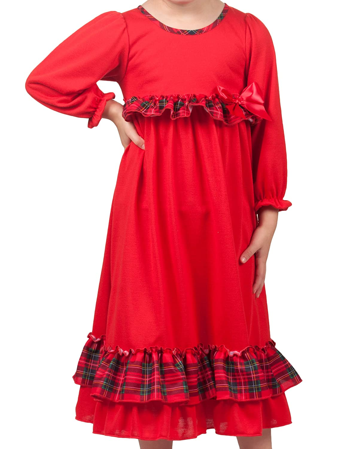 Laura Dare Baby Toddler Holiday Red Long Sleeve Gown with Red Green Plaid Trim 336538-RD