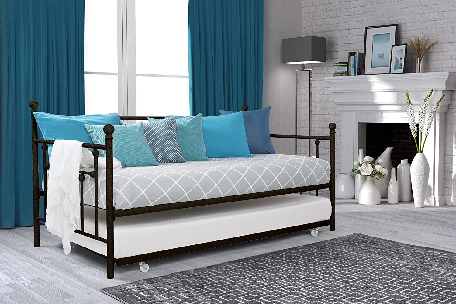 Amazon.com: DHP Manila Metal Framed Daybed with Trundle, Twin - Bronze:  Kitchen & Dining - Amazon.com: DHP Manila Metal Framed Daybed With Trundle, Twin