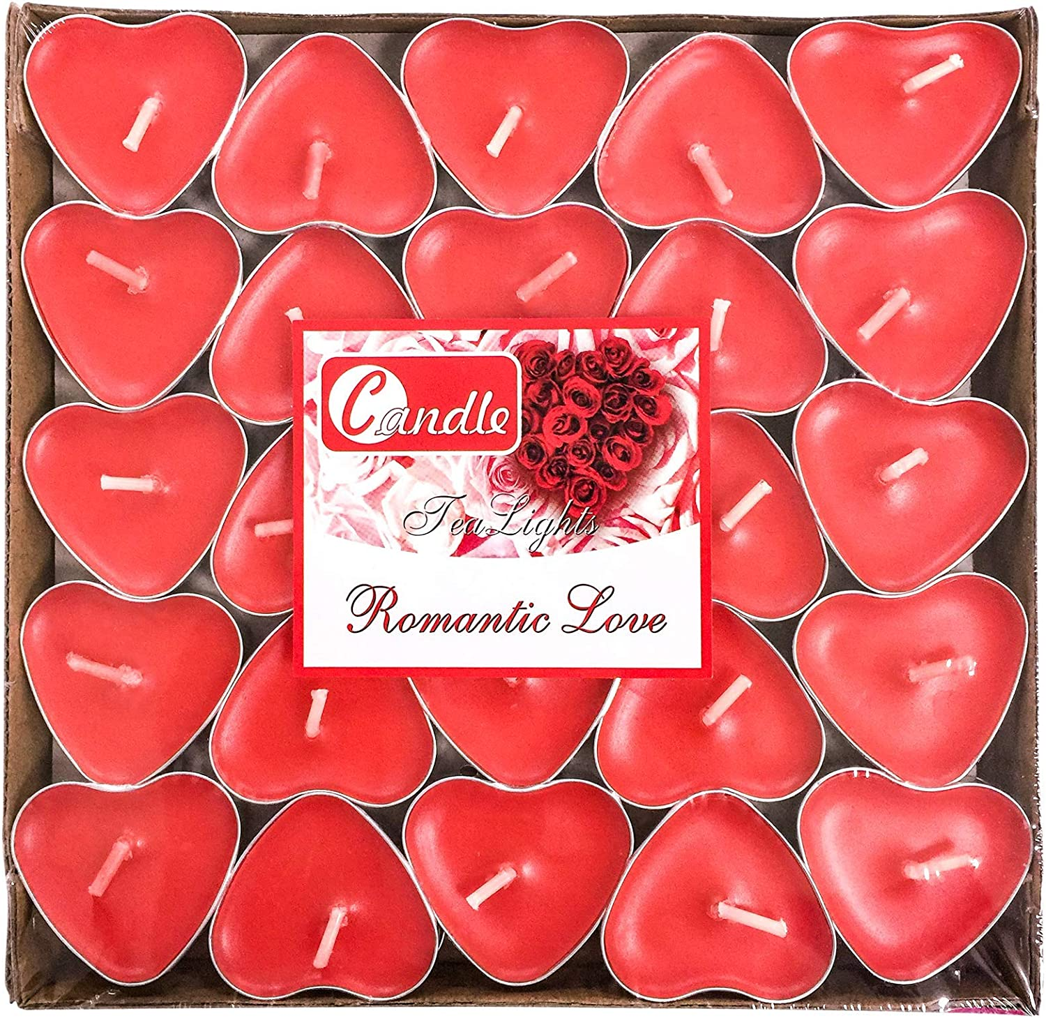 50Packs Heart Shaped Tealight Candles,Romantic Love Unscented Tea Lights Candles,Dripless & Long Lasting Smokeless Mini Tealight Candles for Mood,Romantic Decor,Pool,Dinners,Home,Wedding,Crafts(Red)