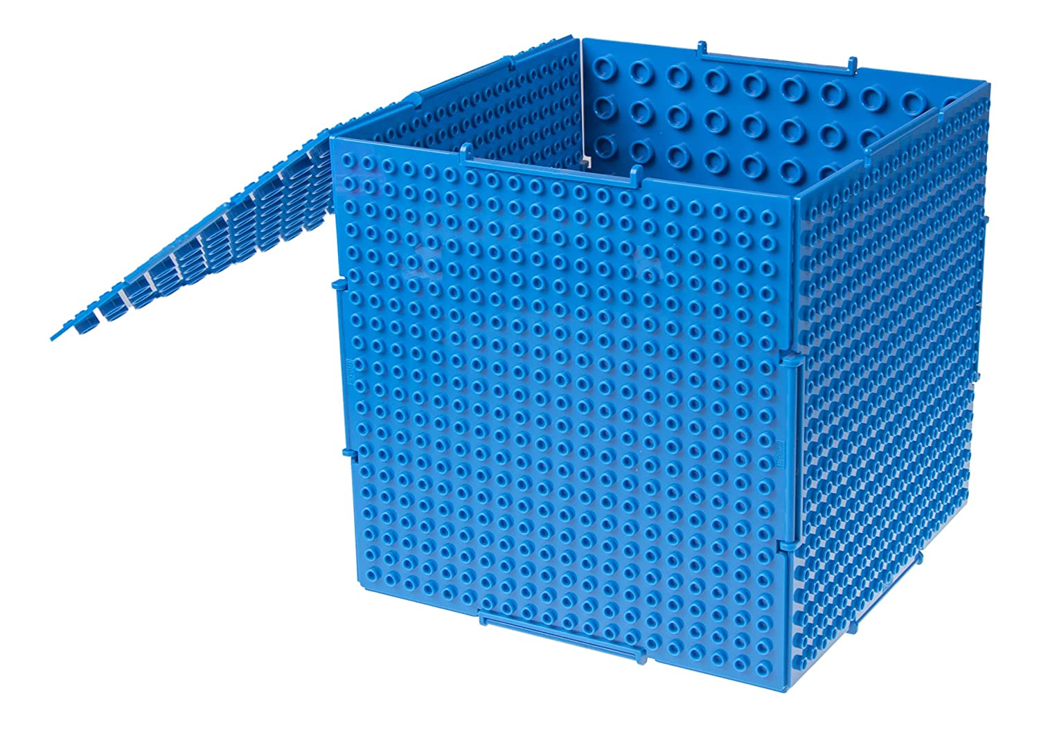 THE CUBE by Strictly Briks | 3D Building Brick & Storage Container Set Pat. Pending | Compatible With All Major Brands | 6 Square Plates | Double Sided for Large & Small Bricks (Blue) Review