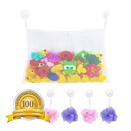 Extra Durable Cute Baby Shower Gift Bathtub Toy Organizer with 2 Suction Cup Hooks Mesh Bath Toy Organizer Tub Toy Net Holder Washable and Quick Dry Bathroom Toy Storage Basket for Kids