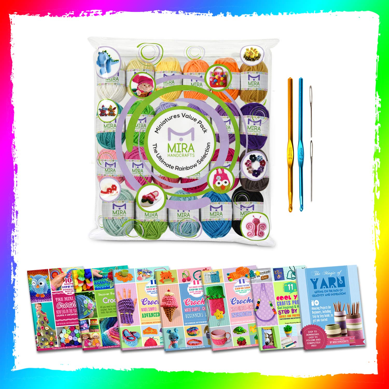 Mira Handcrafts 24 Acrylic Yarn Bonbons | Total of 525 Yards Craft Yarn for Knitting and Crochet | Includes 2 Crochet Hooks, 2 Weaving Needles, 7 E-Books | DK Yarn | Perfect Beginner Kit by Mira HandCrafts (Image #4)