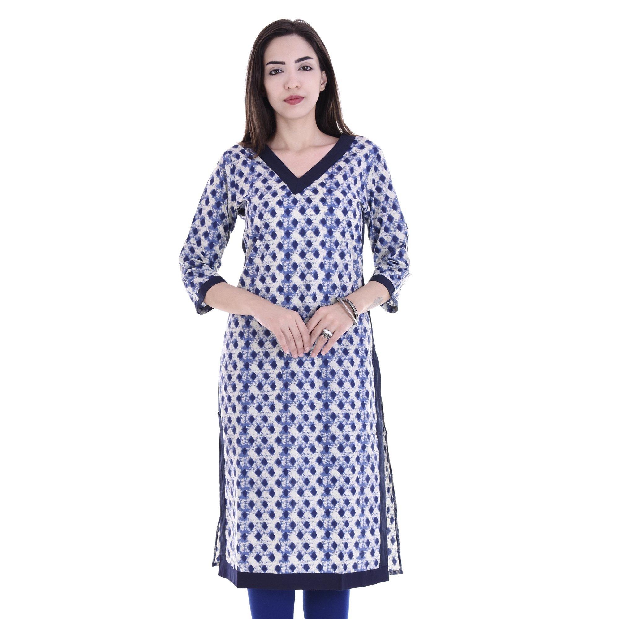 Chichi Indian Women Kurta Kurti 3/4 Sleeve X-Large Size Printed Straight Blue Top