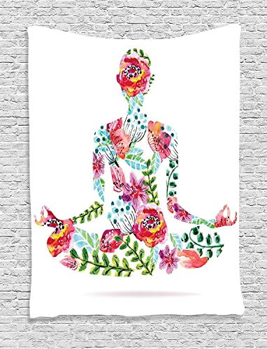 Ambesonne Yoga Tapestry, Colorful Yoga Pose Floral Human Leaf Meditating Spring Wellness Vibrant Colors Namaste, Wall Hanging for Bedroom Living Room Dorm Decor, 60 X 80 , Pink Green