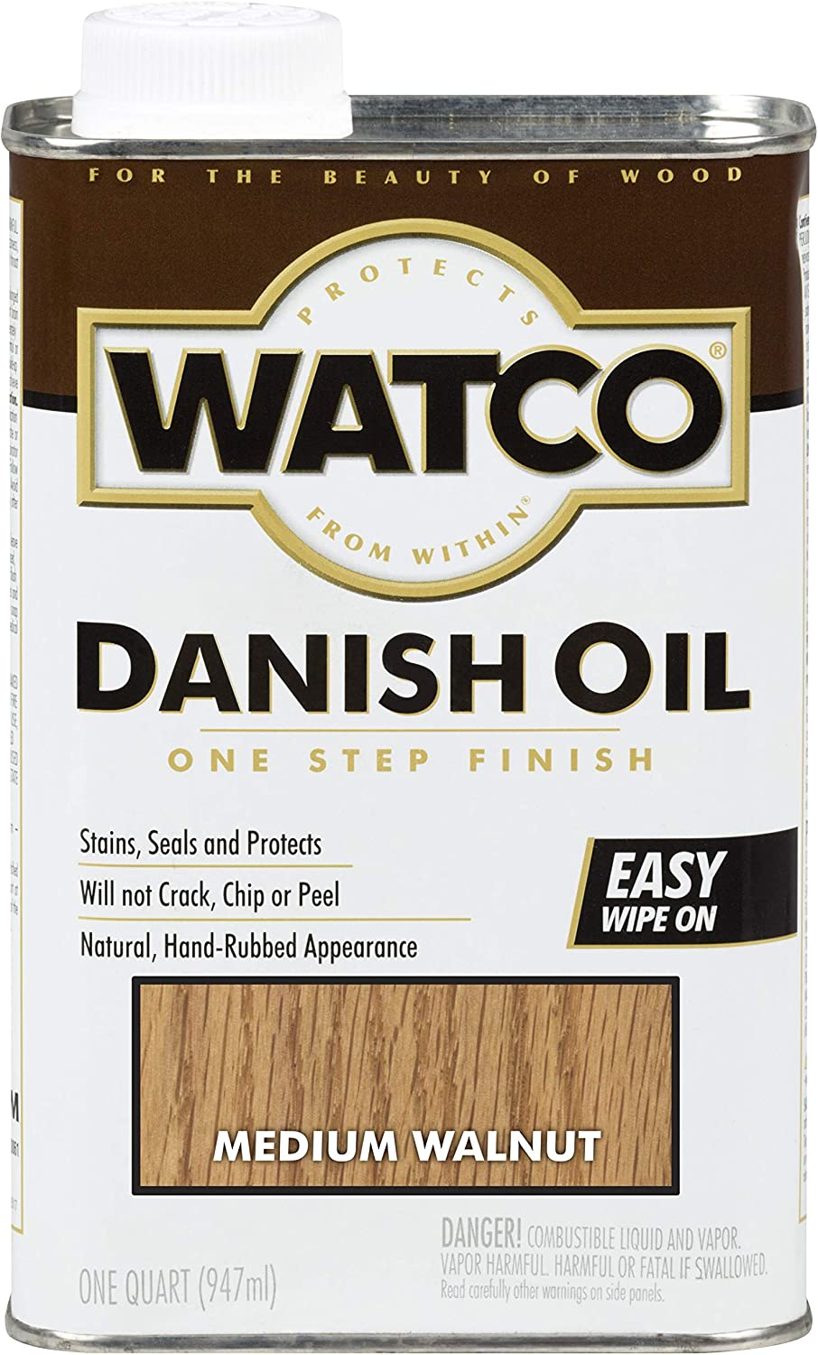 Watco 242223 Danish Oil Wood Finish, Low VOC, Quart, Medium Walnut