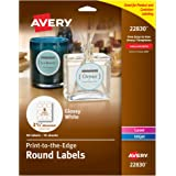 Avery Print - To - The - Edge Round Labels, Glossy White, 2.5-Inch Diameter, 90 Labels (22830)