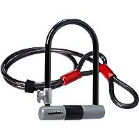 Amazon Basics - Candado antirrobo con argolla en forma de «D» , con un cable flexible de 1,21 mm