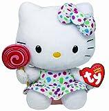 TY 7140961-Hello Kitty Baby-Lollipop, Kleid und Schleife, 14 cm, bunt gepunktetes