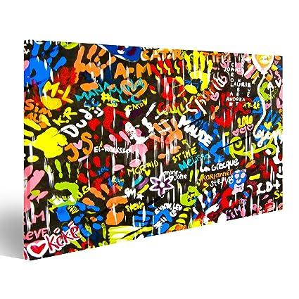 Quadri moderni Funky luminoso e graffiti colorati sul muro Stampa su ...