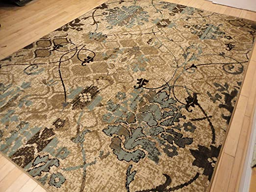 Amazon Com Large 8x11 Contemporary Rugs For Living Room Dining Rugs 8x10 Under 100 Indoor Rugs Office Blue Beige Cream Rugs Home Kitchen